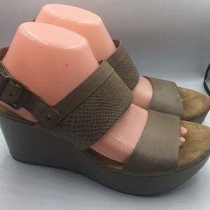 Clark's Artisan Brown Peep Toe Wedges